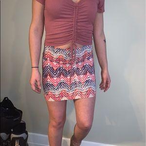 tribal print mini skirt!